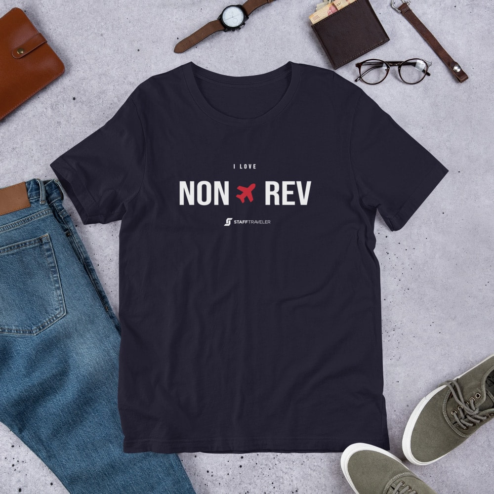 I love non-rev T-shirt oxblood navy blue