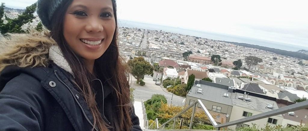 Dianne enjoying the views and perks of living at her new base in San Francisco.