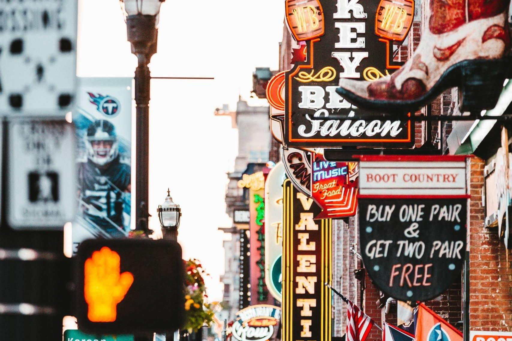 A shot of the entertainment and bars in Nashville's iconic Broadway