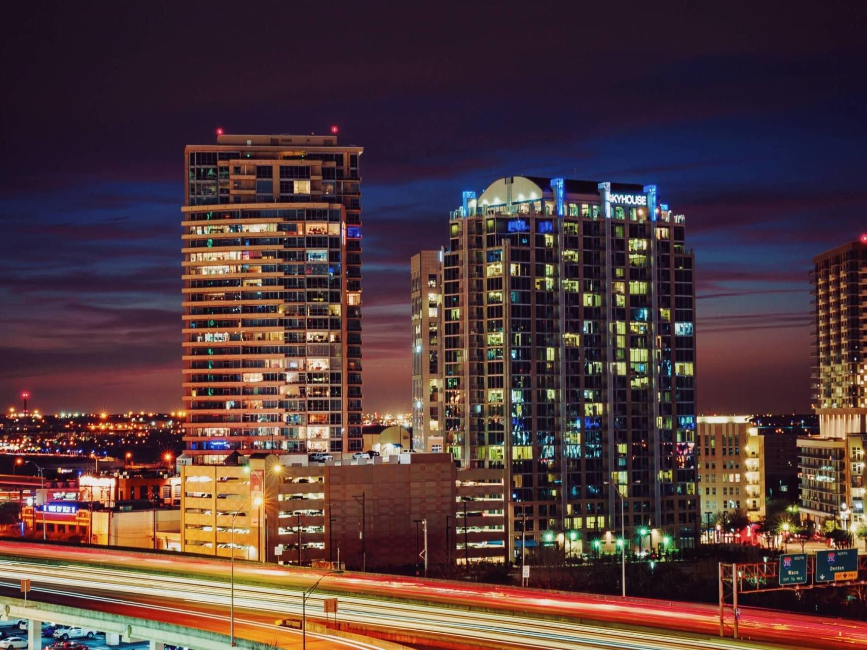 A shot of the Dallas skyline at night.