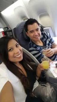 Dianne and her Fiance flying first class o ntheir way to Barcelona