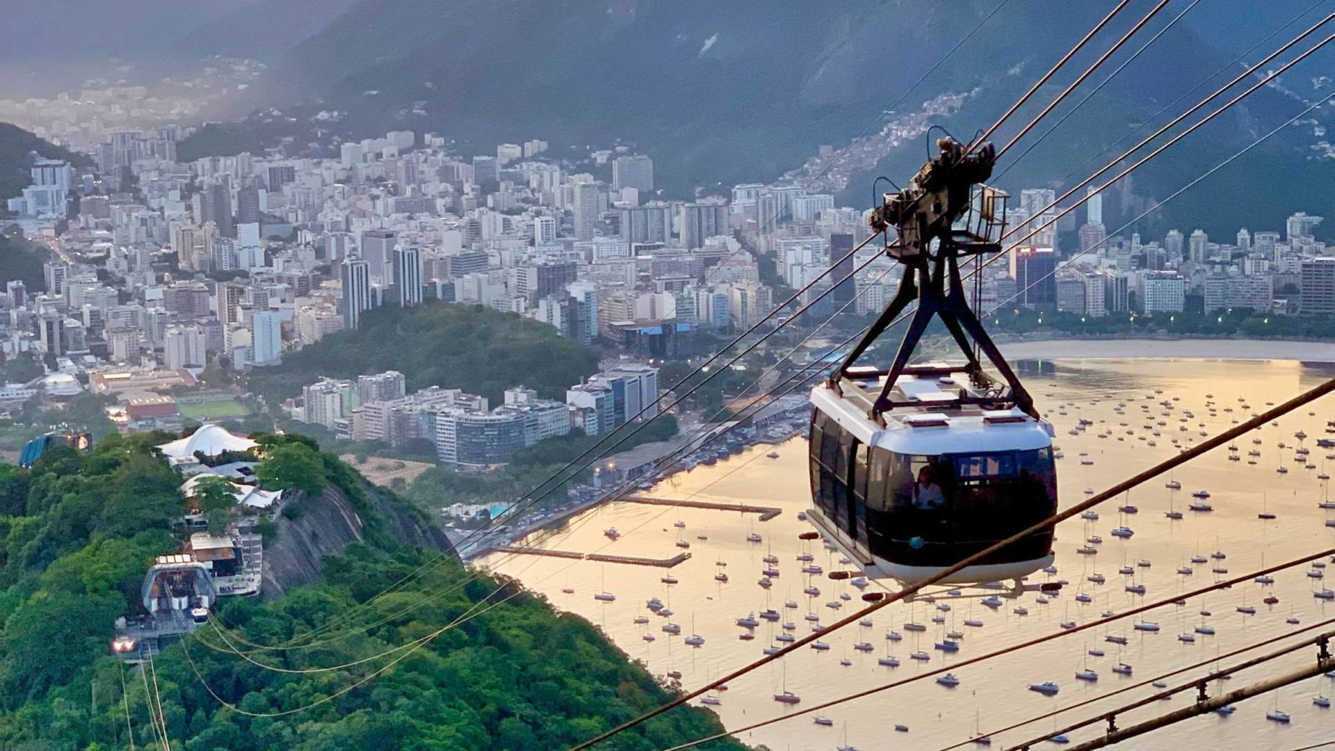 The cable cars running up the city in Rio de Janeiro