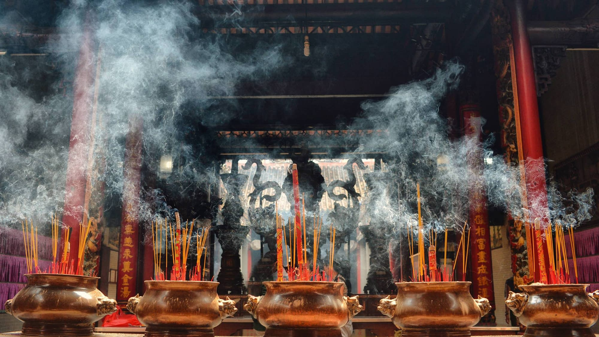 A Vietnamese Temple with Incense