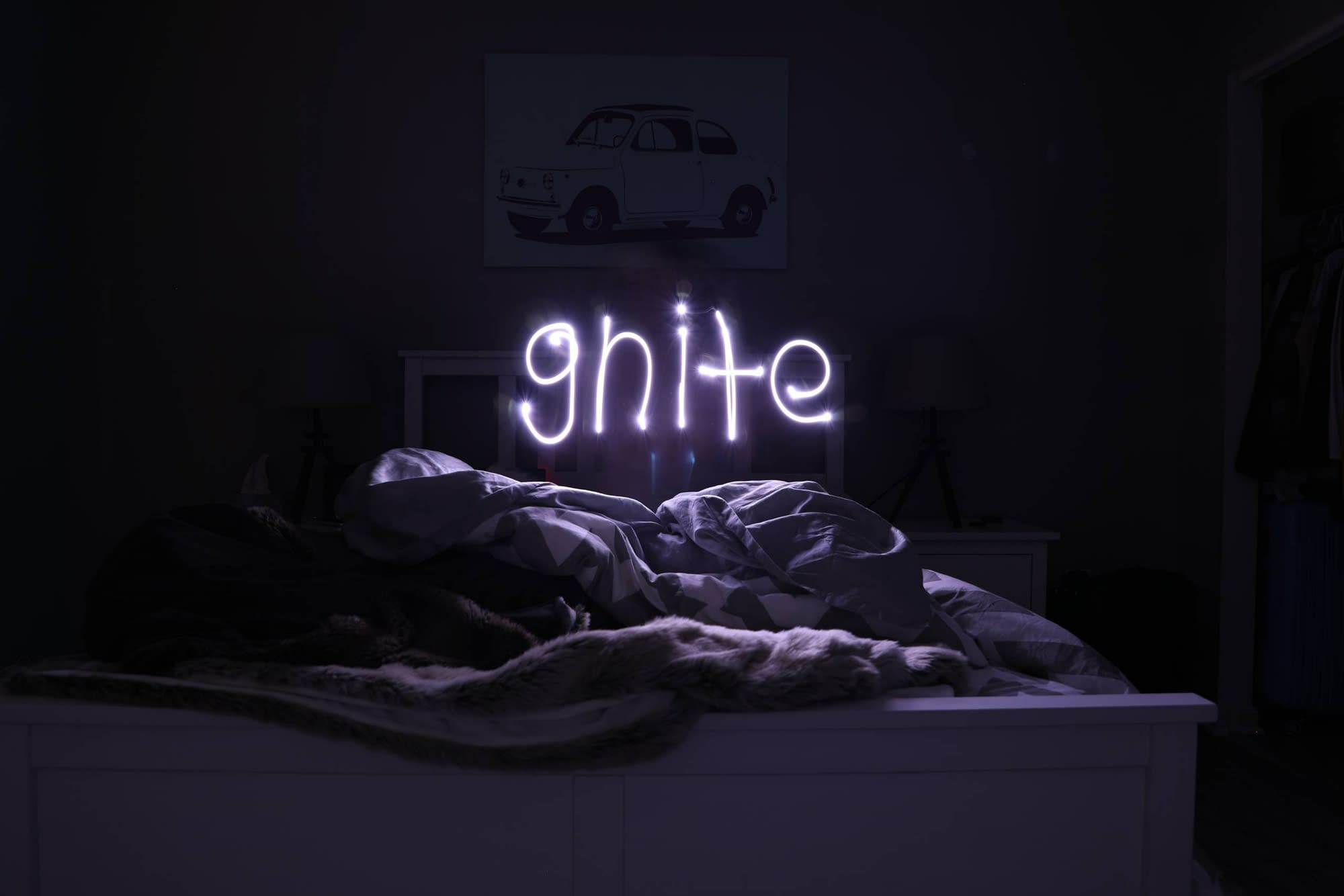 Good night light above a bed