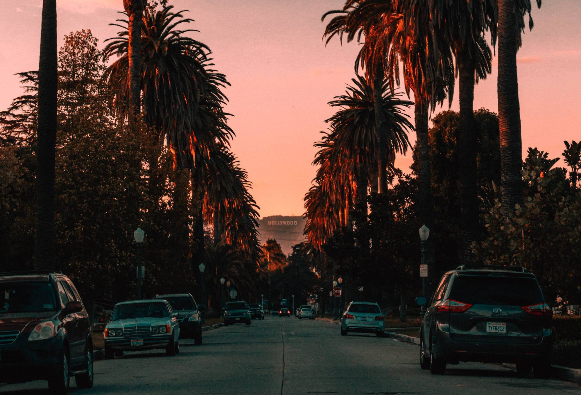 A spectacular view of the Sunset in Hollywood