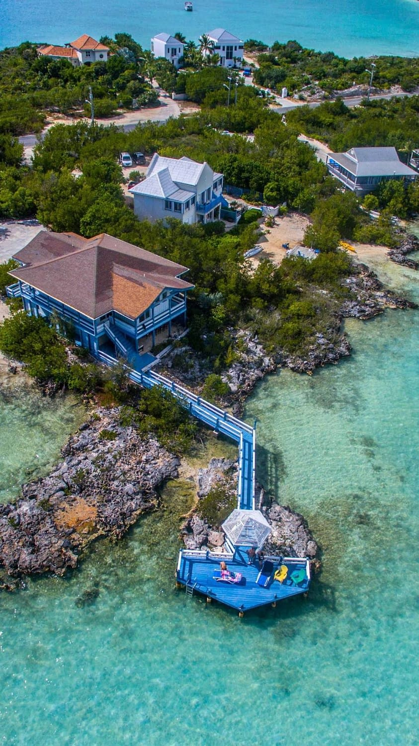 An amazing drone shot from an island in Turks and Ciacos.