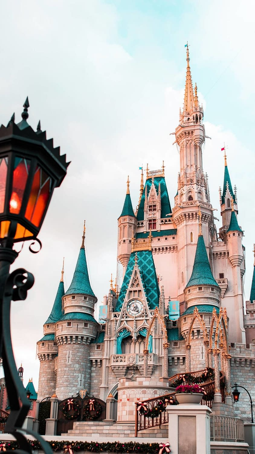 A daytime shot of the iconic castle in Disney's Magic Kingdom Park