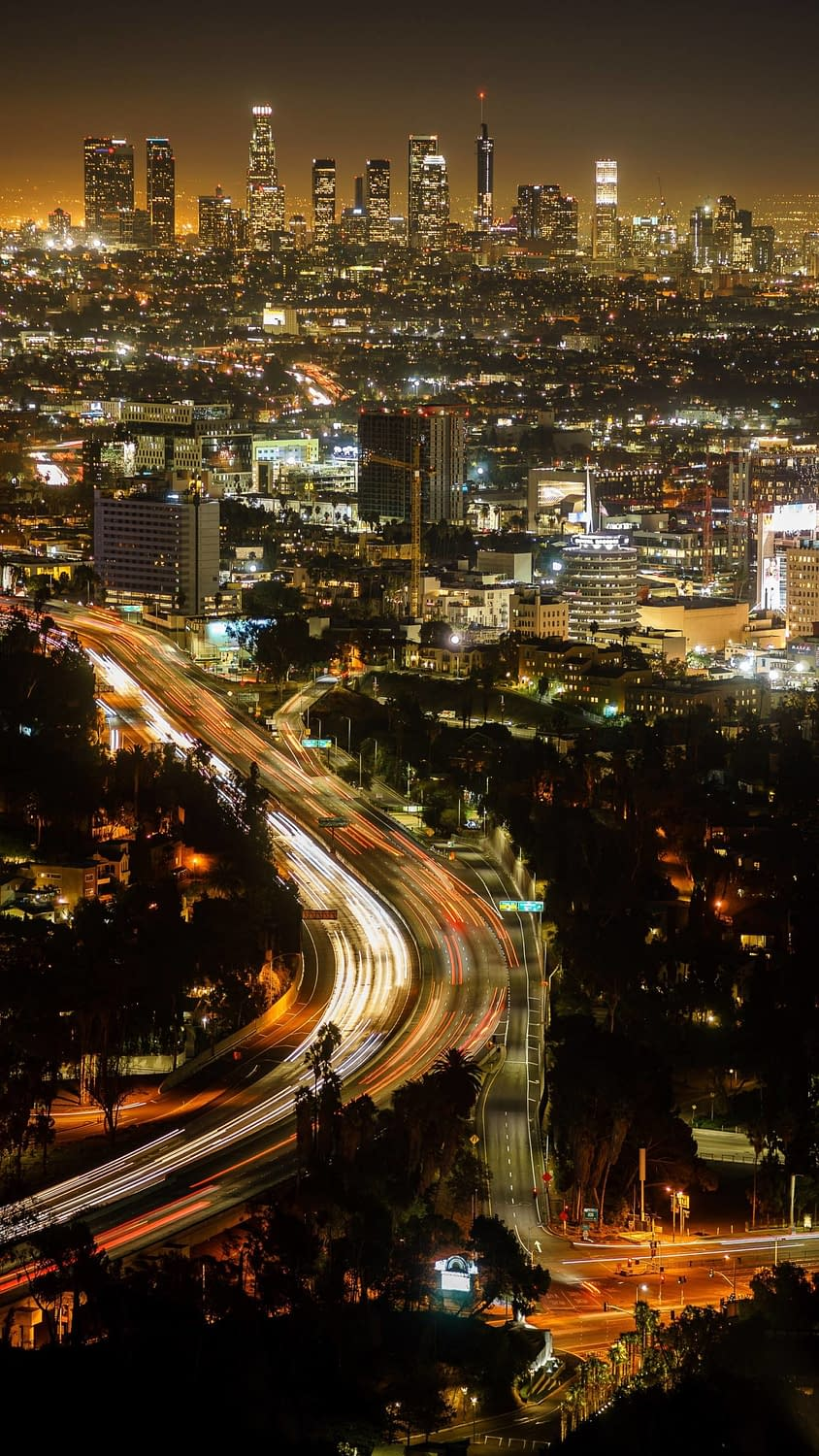 An overhead shot depicting the nightlife found in Los Angeles.