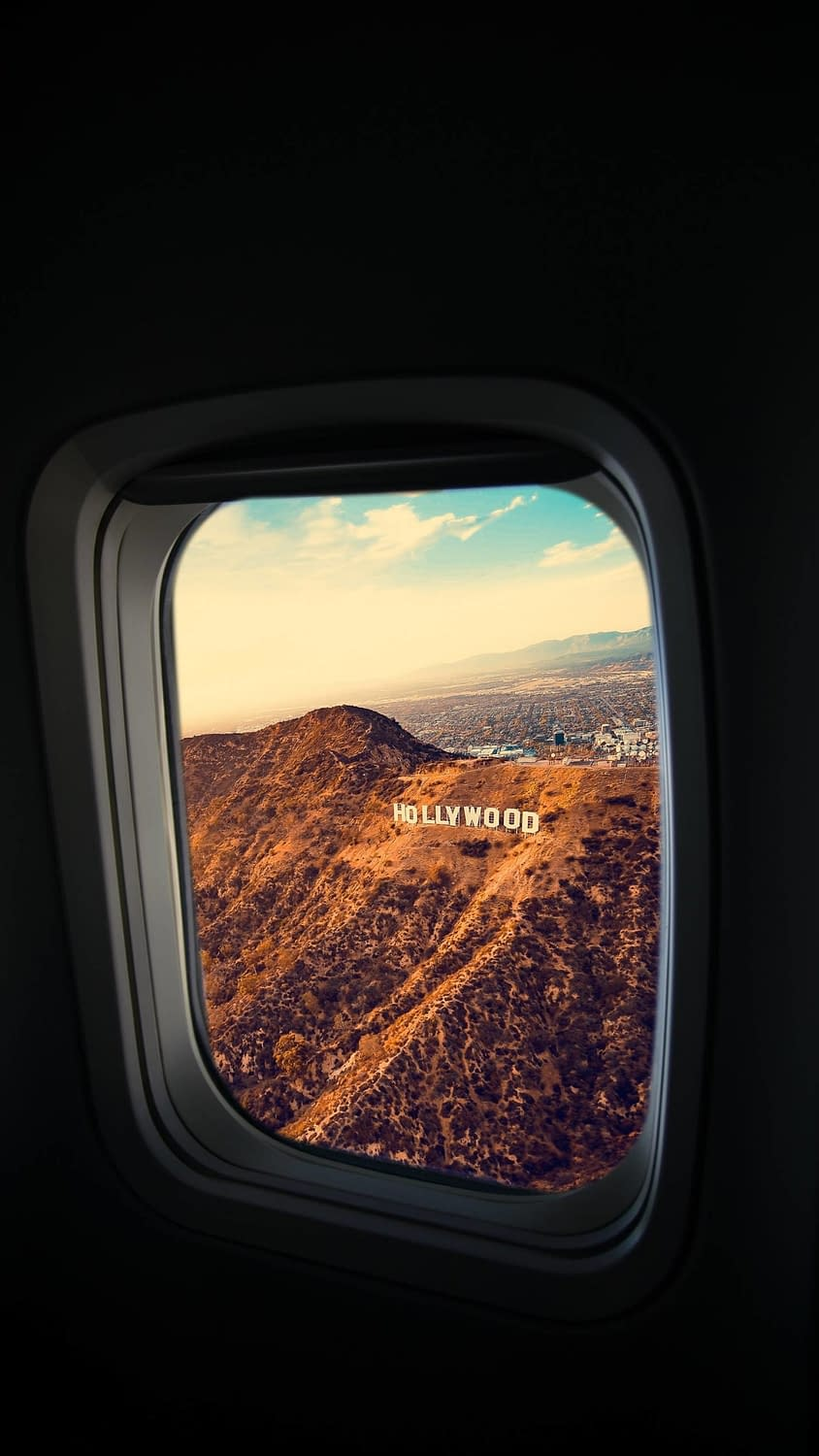 An awesome shot of the Hollywood sign from an airplane.