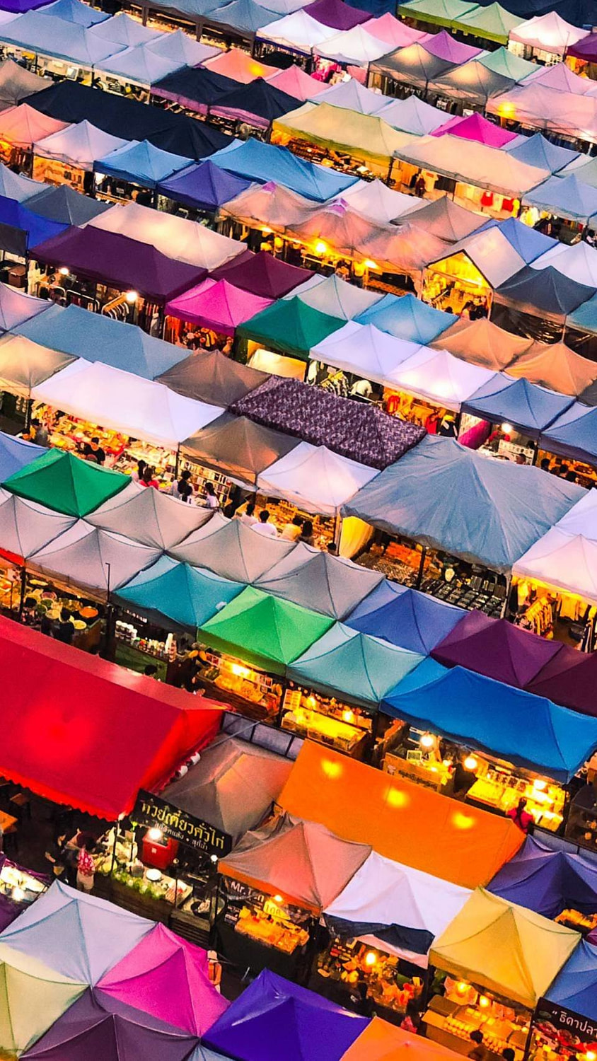 A shot overlooking all the shops at the Chatuchak Market in Bangkok